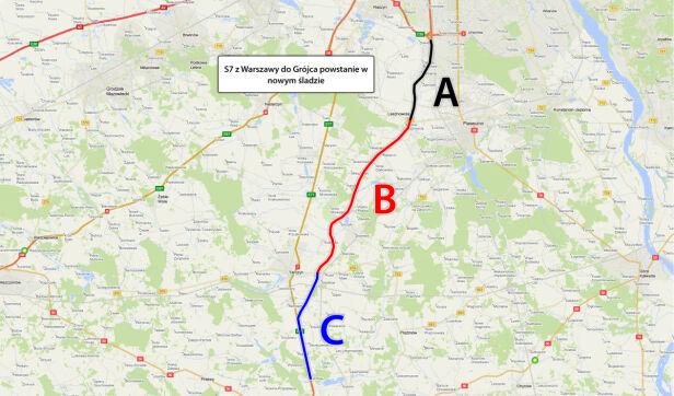 Orientacyjny plan nowej ekspresówki S7 TVN24