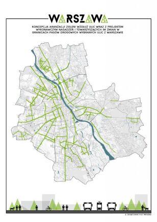 Mapa Zielonych ulic Warszawy Urząd Miasta