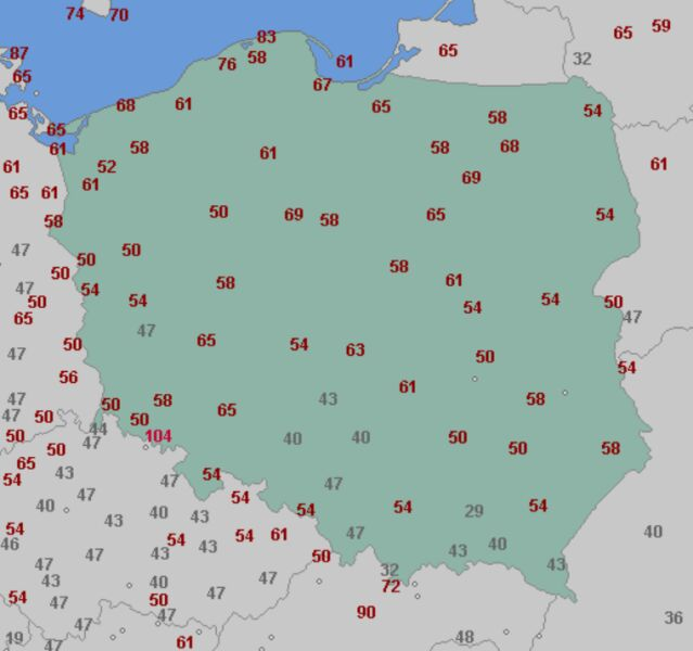 Porywy wiatru w czwartek 6 maja (wetteronline.de)