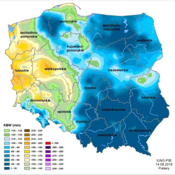 Klimatyczny Bilans Wodny, stan na 14 sierpnia 2018 (Instytut Uprawy Nawożenia i Gleboznawstwa)