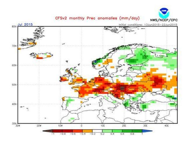 mapa NOAA - odchylenie opadów od normy wieloletniej w lipcu 2015
