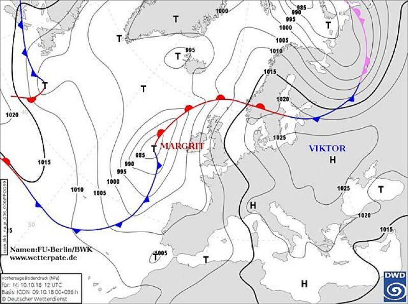Sytuacja baryczna nad Europą - środa godzina 12 czasu urzędowego (wetterplatte.de)