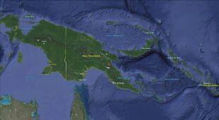 Lokalizacja trzęsienia ziemi w Papui-Nowej Gwinei